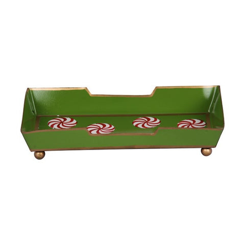 Hand Painted Toleware Peppermint Green Guest Towel Tray