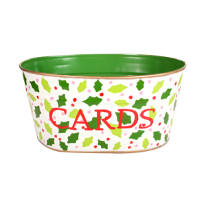 "Handpainted Toleware Hollies & Berrys Cream ""CARDS"" Tub"
