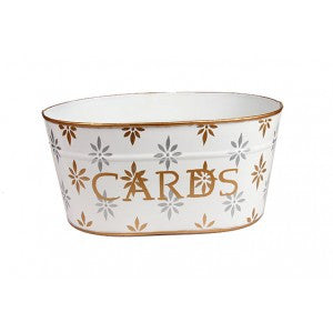 "Handpainted Toleware Snowflakes Silver And Gold ""CARDS"" Tub"