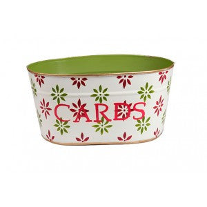 "Handpainted Toleware Snowflakes Green ""CARDS"" Tub"