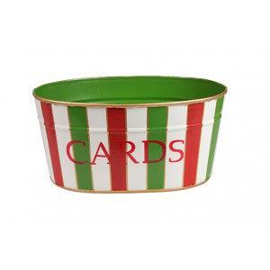 "Handpainted Toleware Christmas Stripe Multi Color ""CARDS"" Tub"