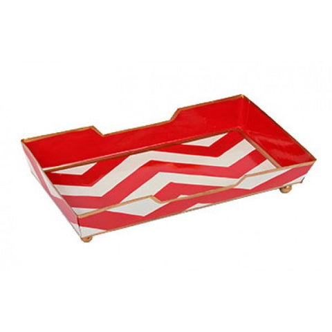 Hand Painted Toleware Chevron Red Guest Towel Tray