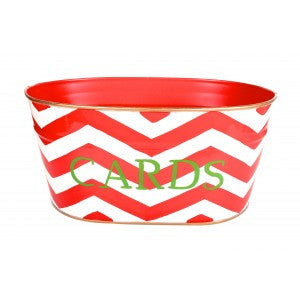 "Handpainted Toleware Chevron Red ""CARDS"" Tub"