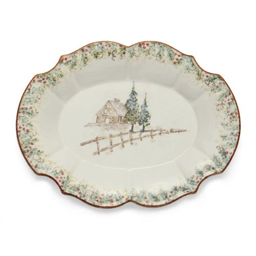 Arte Italica Natale Casa Scalloped Oval Tray