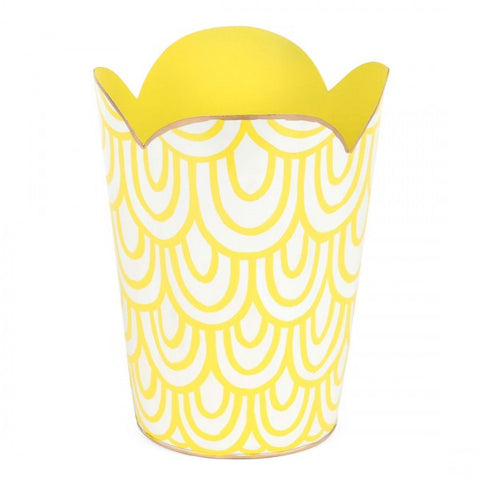 Hand Painted Toleware- Scales Yellow Tulip Wastebasket