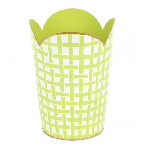 Hand Painted Toleware- Basketweave Green Tulip Wastebasket