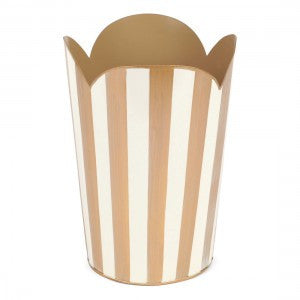 Hand Painted Toleware- Brushed Stripe Cream And Gold Tulip Wastebasket