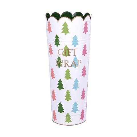 Hand Painted Toleware Christmas Trees Multi Color Gift Wrap Umbrella Stand