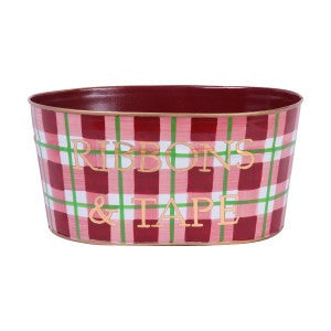 Hand Painted Toleware Holiday Plaid Red Ribbons And Tape Tub
