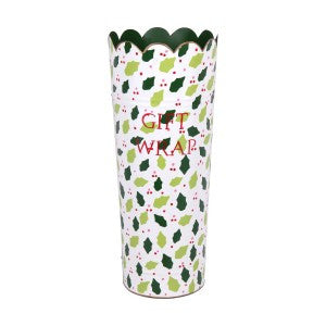 Hand Painted Toleware Hollies And Berries Cream Gift Wrap Umbrella Stand