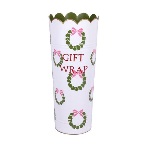 Hand Painted Toleware Wreaths Cream Gift Wrap Umbrella Stand