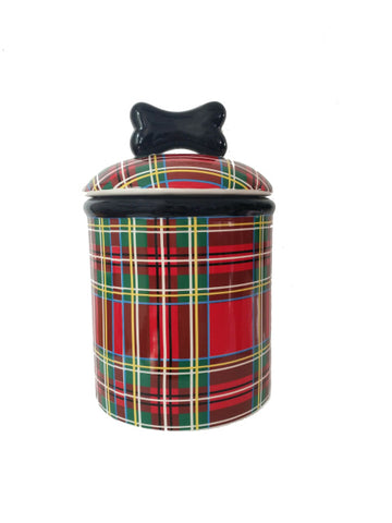 Creature Comforts Stewart Plaid Dog Treat Jar