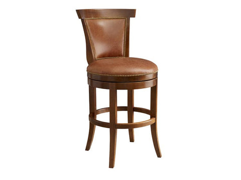 Combination Red Leather Armless Swivel Barstool