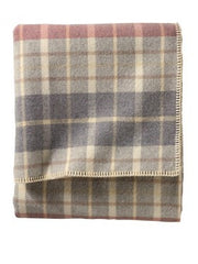 Pendleton Washable Eco-wise Wool Plaid Easy-care Blanket- Blush/Grey Plaid
