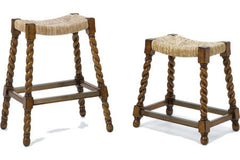 5000 Bar Stool w/Rattan Seat & Turned Legs