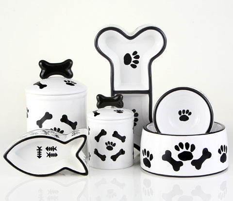 Creature Comforts Ceramic Dog Bowls & Treat Jars-Black & White Bones & Paws Collection
