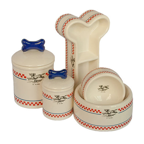 Creature Comforts Ceramic Dog Cat Bowls & Treat Jars-French Bistro Collection