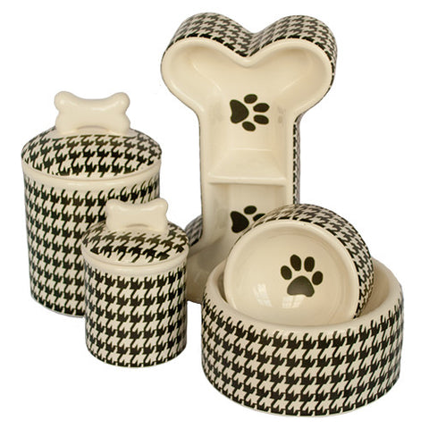 Creature Comforts Ceramic Dog Bowls & Treat Jars-Houndstooth Collection