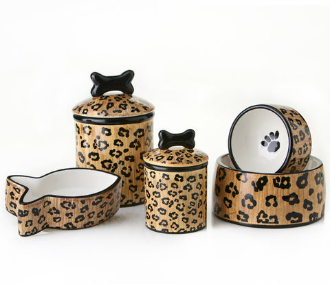 Creature Comforts Ceramic Dog Bowls & Treat Jars-Leopard Collection