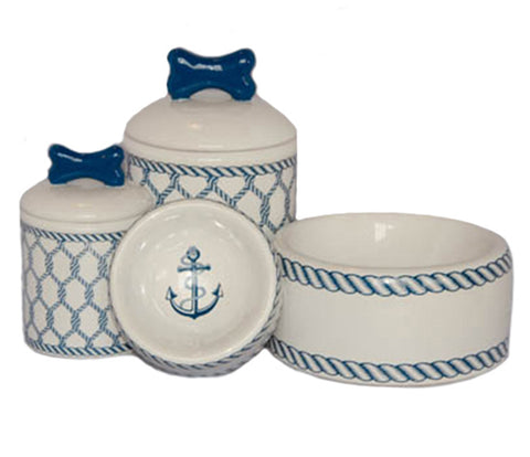Creature Comforts Ceramic Dog Bowls & Treat Jars-Nautical Collection