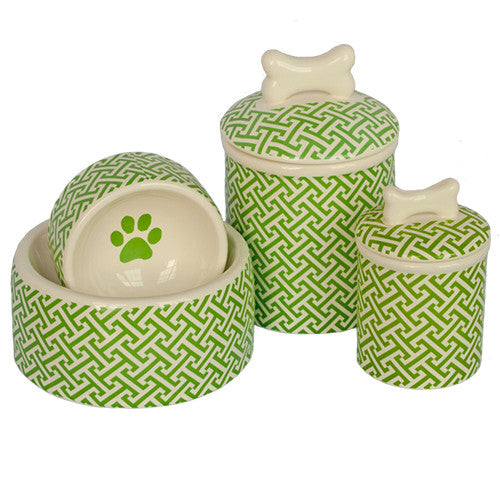 Creature Comforts Ceramic Dog Bowls & Treat Jars-Green Trellis Collection