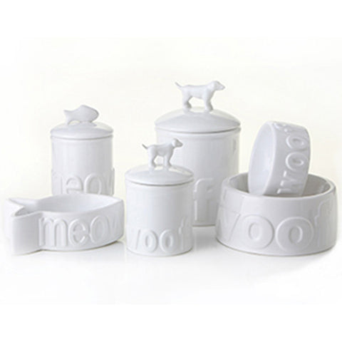 Creature Comforts Ceramic Dog & Cat Bowls & Treat Jars-Woof-Meow White Collection