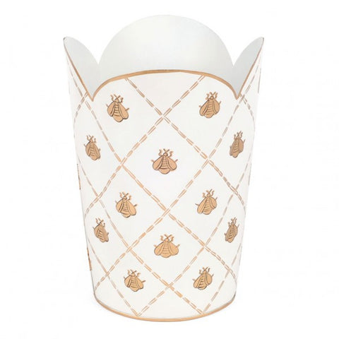 Hand Painted Toleware- French Bee Cream And Gold Tulip Wastebasket