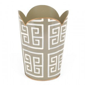 Hand Painted Toleware- Greek Key Grey Tulip Wastebasket