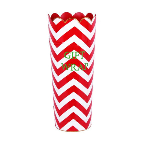 Hand Painted Toleware Chevron Red Gift Wrap Umbrella Stand