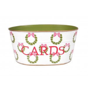 "Hand Painted Toleware Wreaths Pink ""CARDS"" Tub"