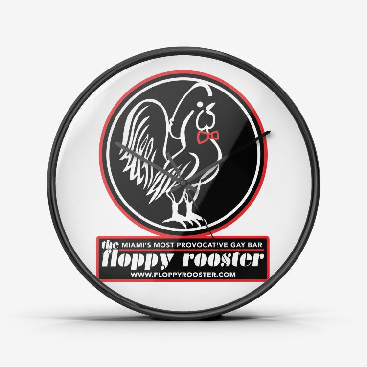 Floppy Rooster Wall Clock - Black