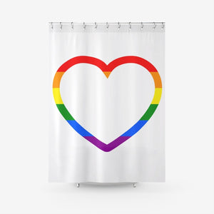 Pride Hear - Textured Fabric Shower Curtain Printed Bathroom Curtains