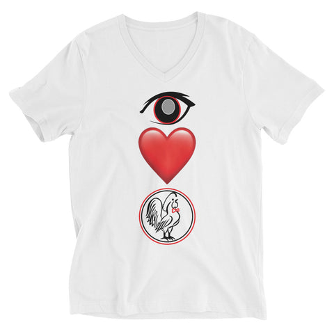 Unisex Short Sleeve V-Neck T-Shirt Eye Love