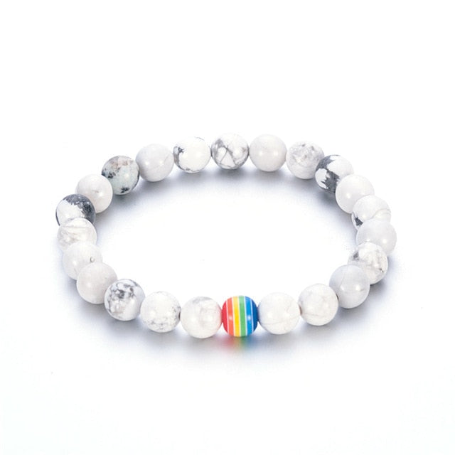 Rainbow Flag  Black Onyx Beads Bracelet