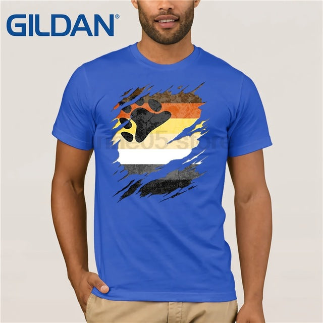 Gay Bear Pride Flag Ripped T-Shirt