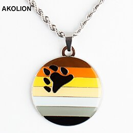 LGBT Bear Pride Round Keychain Metal Keyring Fashion Jewelry for Lovers XY0304-N