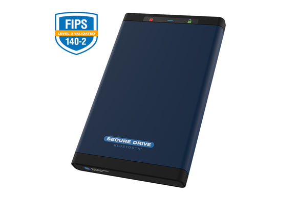 SecureDrive® BT 500GB SSD Hardware Encrypted External Hard Drive – Unlock via Mobile App SD-BT-12-BU500GB-SSD