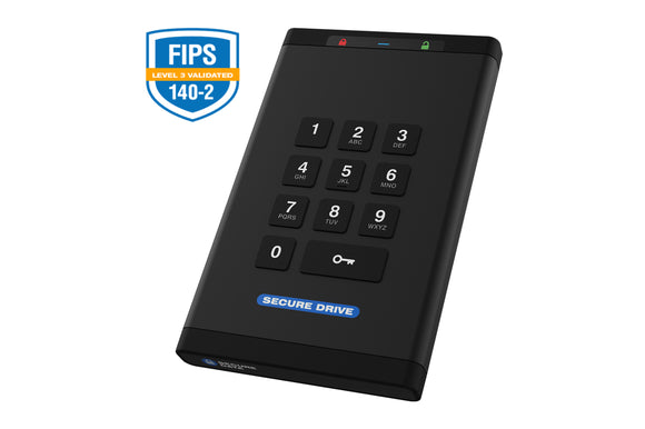 SecureDrive® KP 250GB SSD Hardware Encrypted External Hard Drive - Unlock via On-Board Keypad SD-KP-12-BL250GB-SSD - [machollywood]