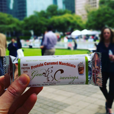good cravings vegan protein bars at urban harvest farmers market