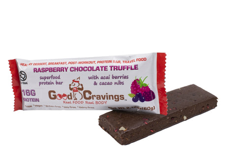 Raspberry Chocolate Truffle with Acai & Cacao Nibs Raw Vegan Protein Bar