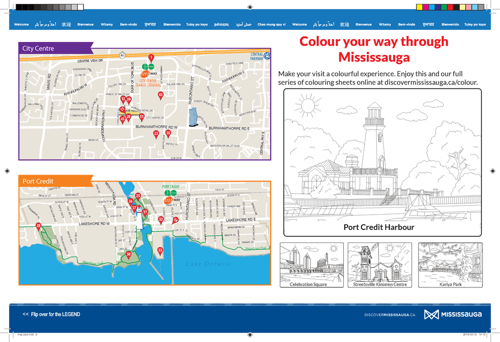print template for colouring page of 2019 Mississauga Visitor Guide map pad