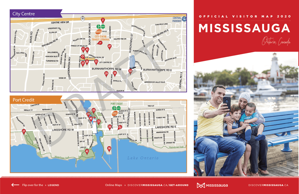 First draft of detail maps for 2020 Mississauga Visitor Guide