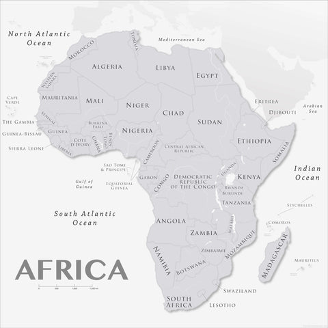 Greyscale political map of Africa
