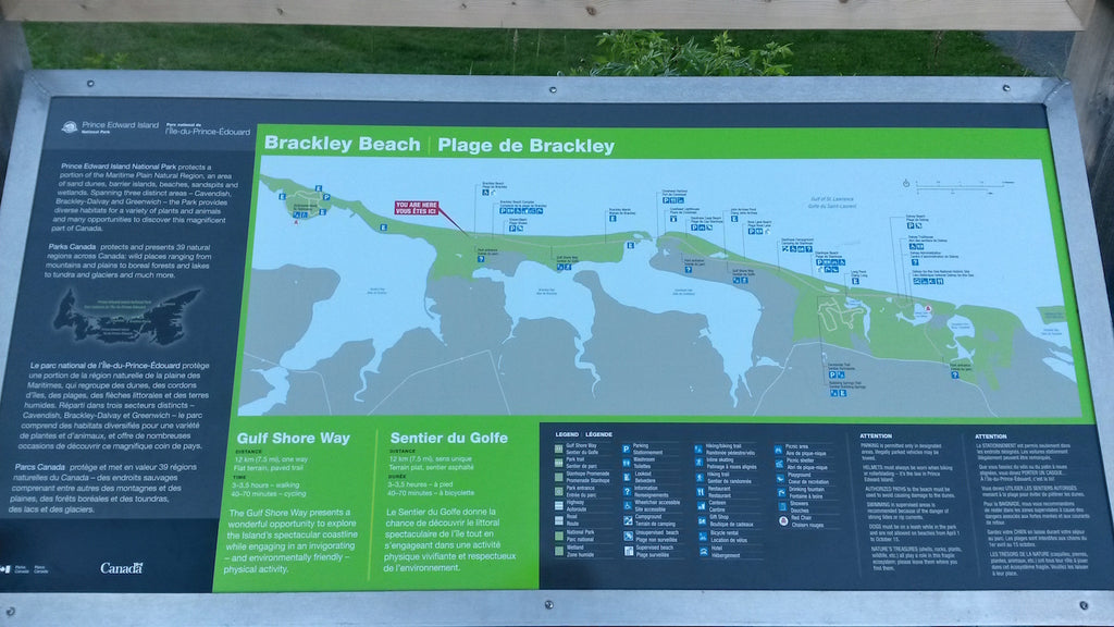 Wayfinding map of Brackley Beach park in PEI - gives a description of the park, a map showing its location on PEI, and a detailed map showing facilities and trails in the park
