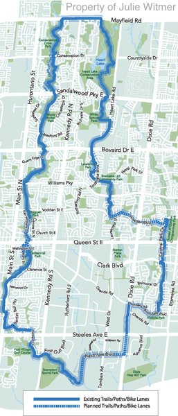 small map of Brampton Loop route