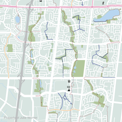 detail of Brampton cycling map draft - preliminary on-road cycling network