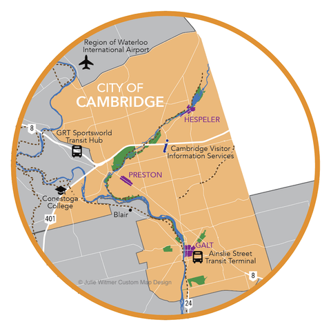 overview map of Cambridge - Explore Waterloo Region magazine