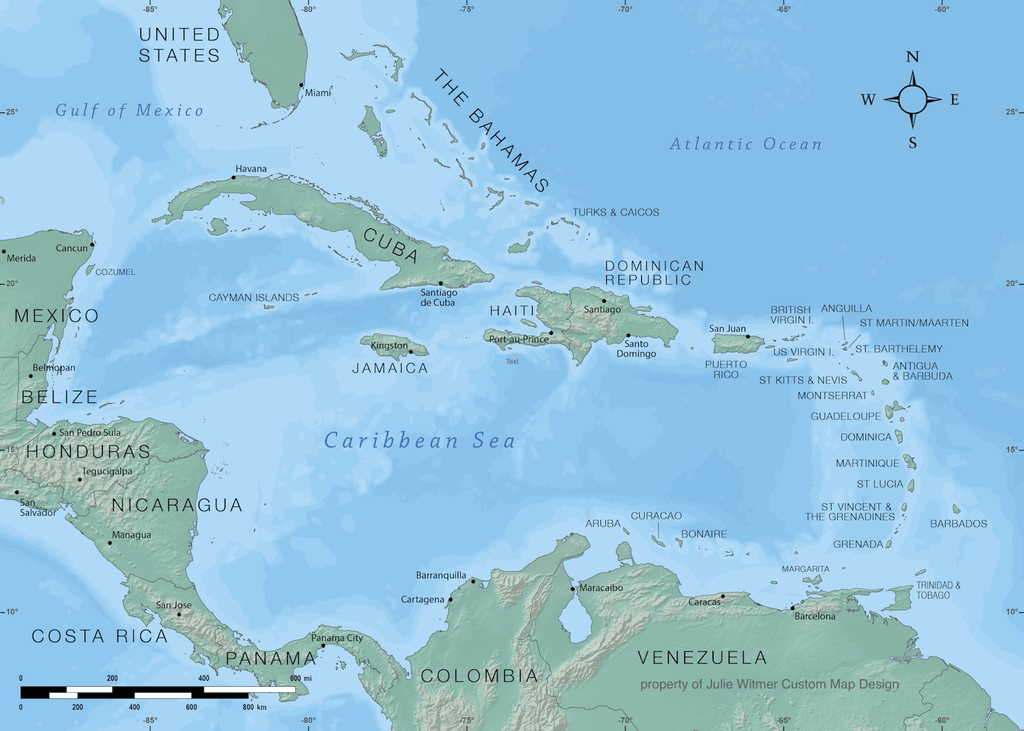 relief and bathymetric map of the Caribbean