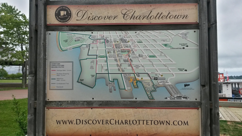 Map of Charlottetown landmarks with suggested walking routes colour-coded by theme