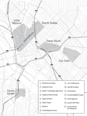 greyscale map of Dallas expressway and displaced neighbourhoods
